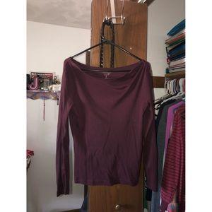 Wide Neck Purple Long Sleeve